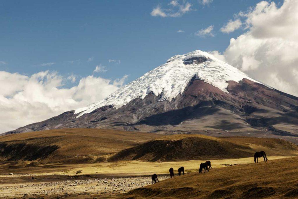 Vulkanlandschaft mit Schnee in Ecuador