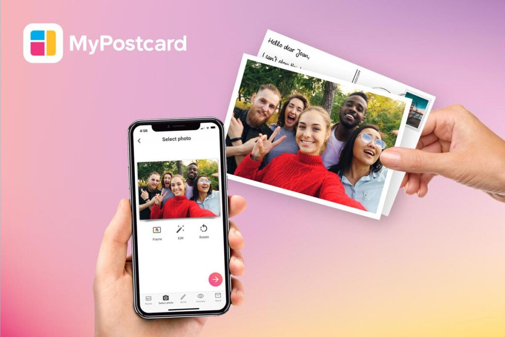 MyPostcard is a postcard maker app for real printed postcards