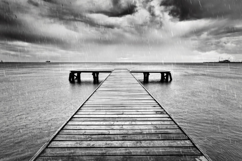 Travel Picture Of A Pier In Black and White
