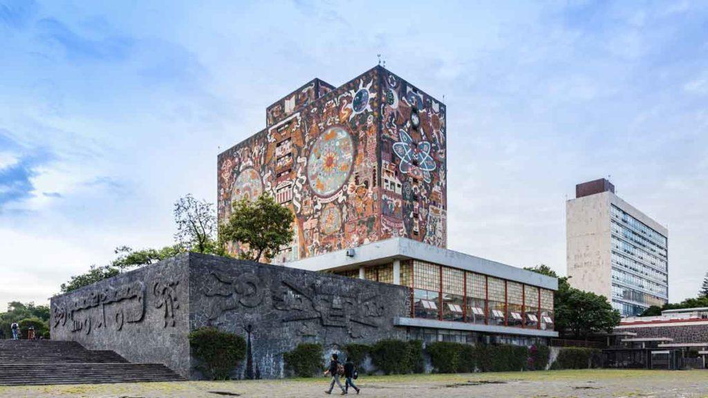 Künstlerische Fasse der UNAM Central Library in Mexiko