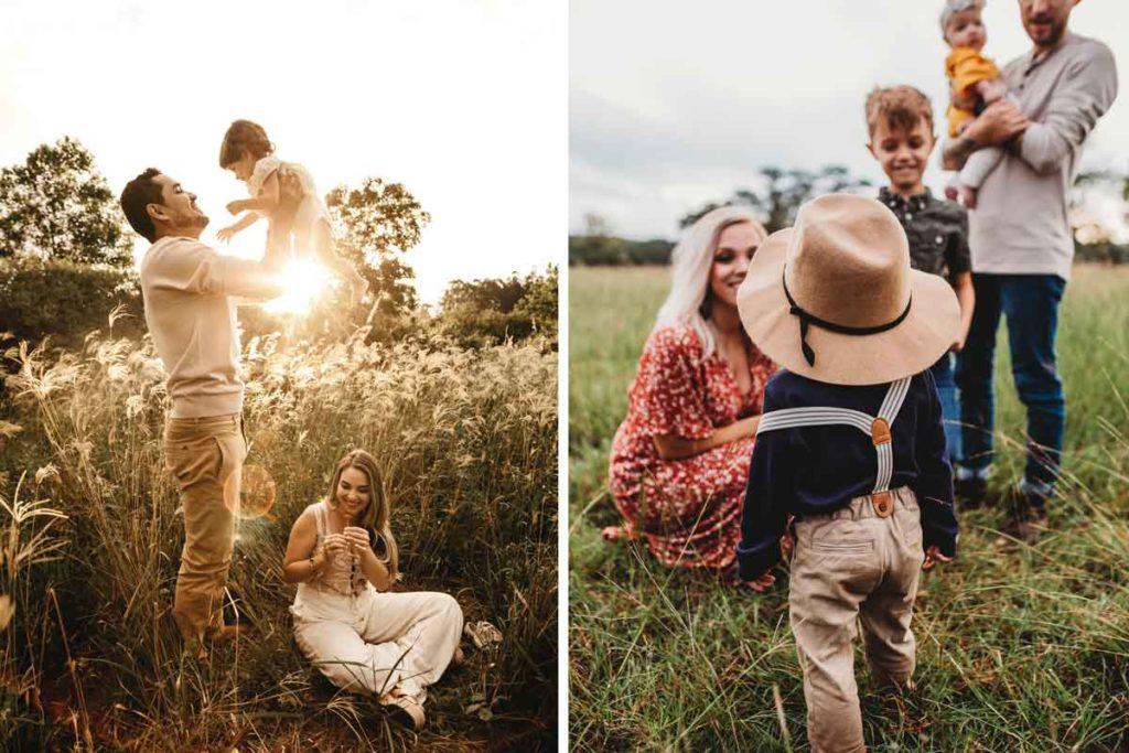 Zwei Familien mit abgestimmter Kleidung für perfekte Familienfotos