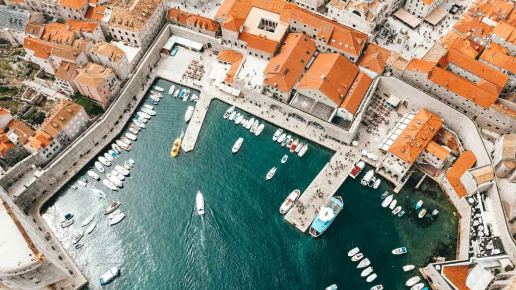 Aerial view on the port of Dubrovnik with boats