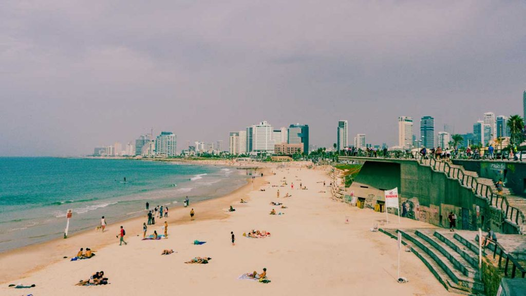 View on the Tel Aviv beach with skyline