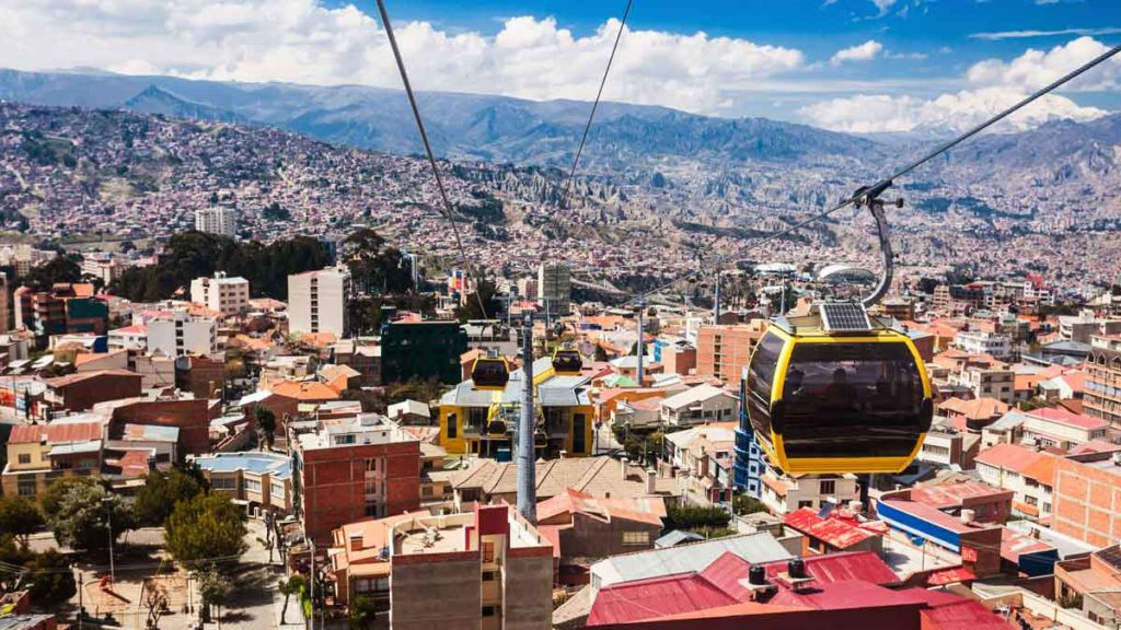 View on the city of La Paz, Bolivia with aerial cable car urban transit system