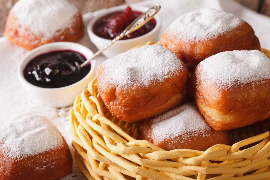 Beignets, a typical sweet dish from New Orleans, Louisiana