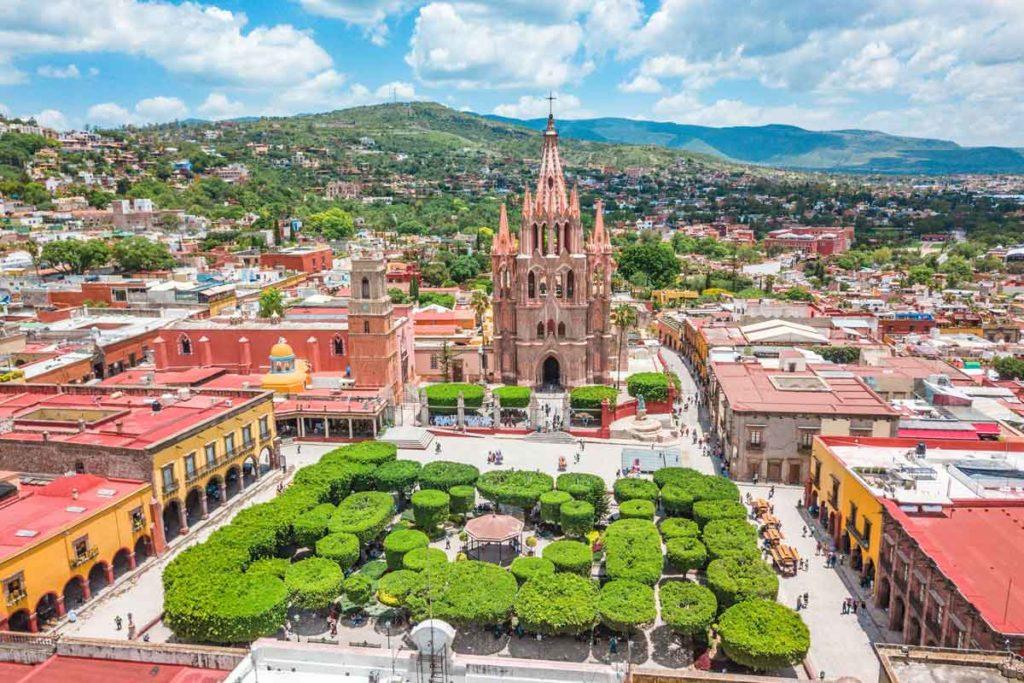 Blick aus der Vogelperspektive auf den Hauptplatz von San Miguel de Allende