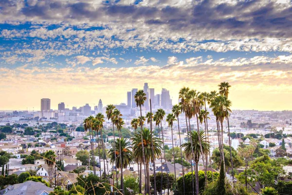 View of the Los Angeles skyline, California