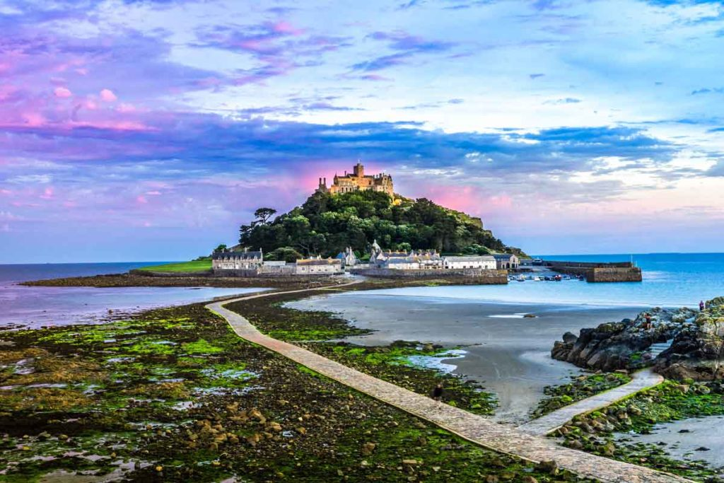 Tidal island of St. Michael's Mount in Cornwall as a photo highlight