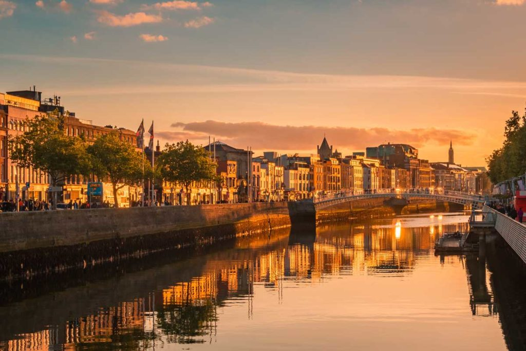 View of Dublin during the sunset