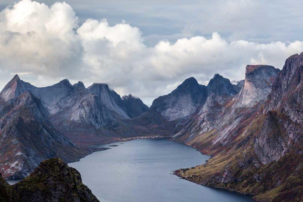 Reinebringen, Norway from above during day