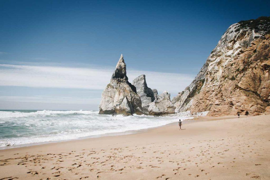 Beach and different rock shapes of the Praia da Ursa bay
