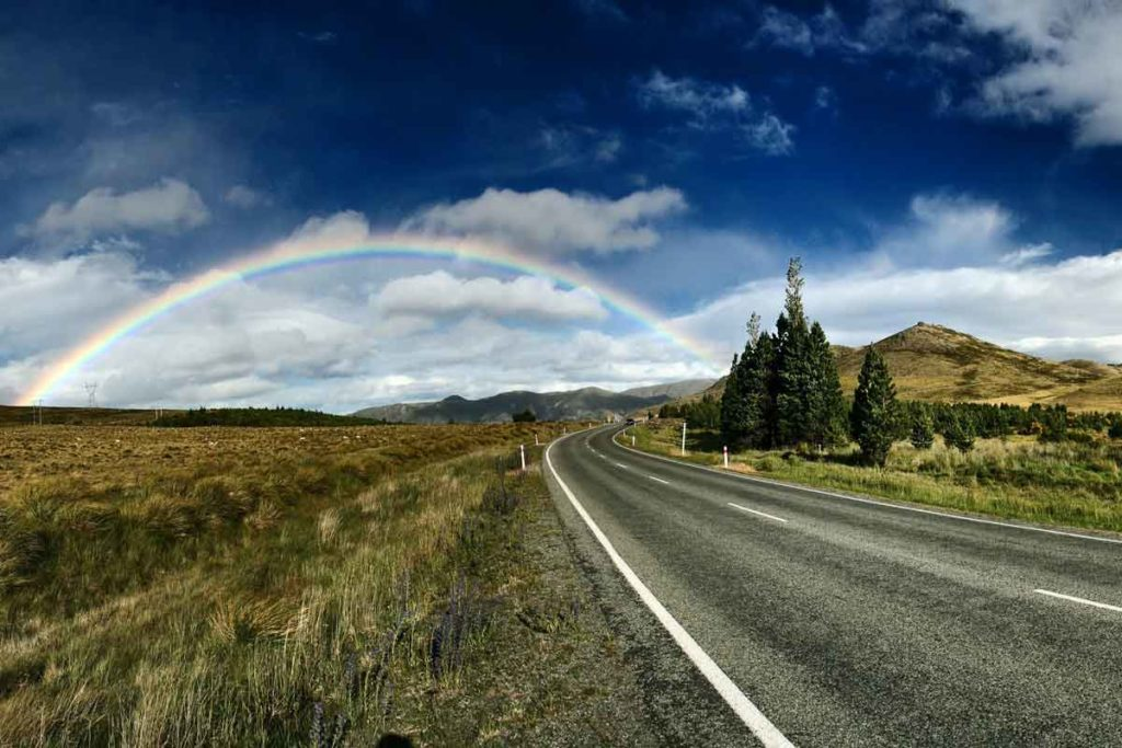 Tekapo landscape with a wide view and rainbow