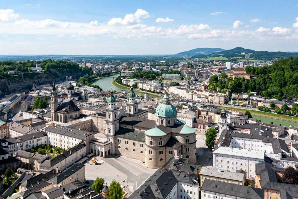 Top view of Salzburg during sunny day