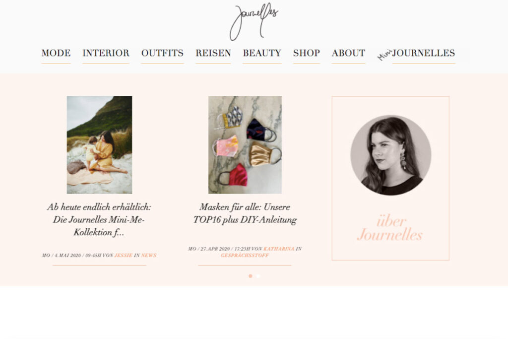 Blog Homepage von Journelles