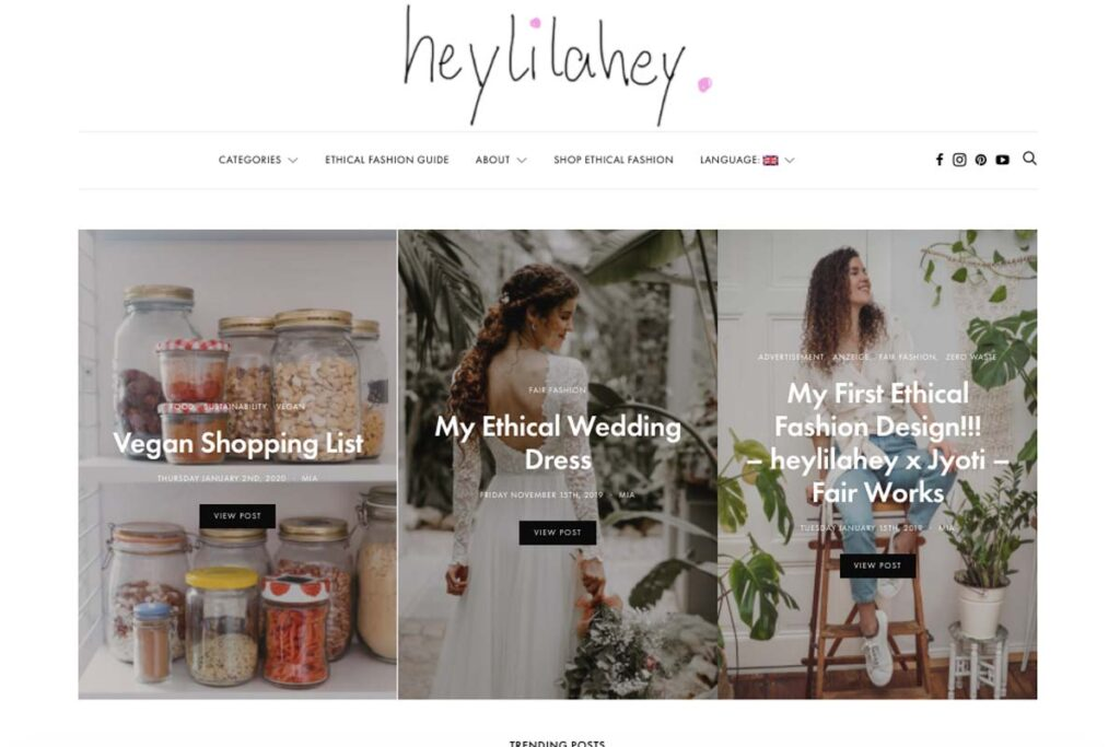 Der Home page von Heylilahey, eine inspirierende Blog