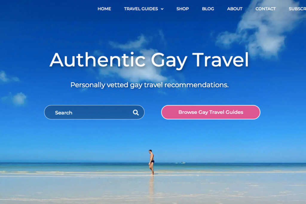 The homepage of gay travel blogger Louis from wolfyy