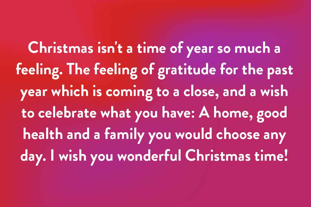 The Christmas feeling quote for use in your catd