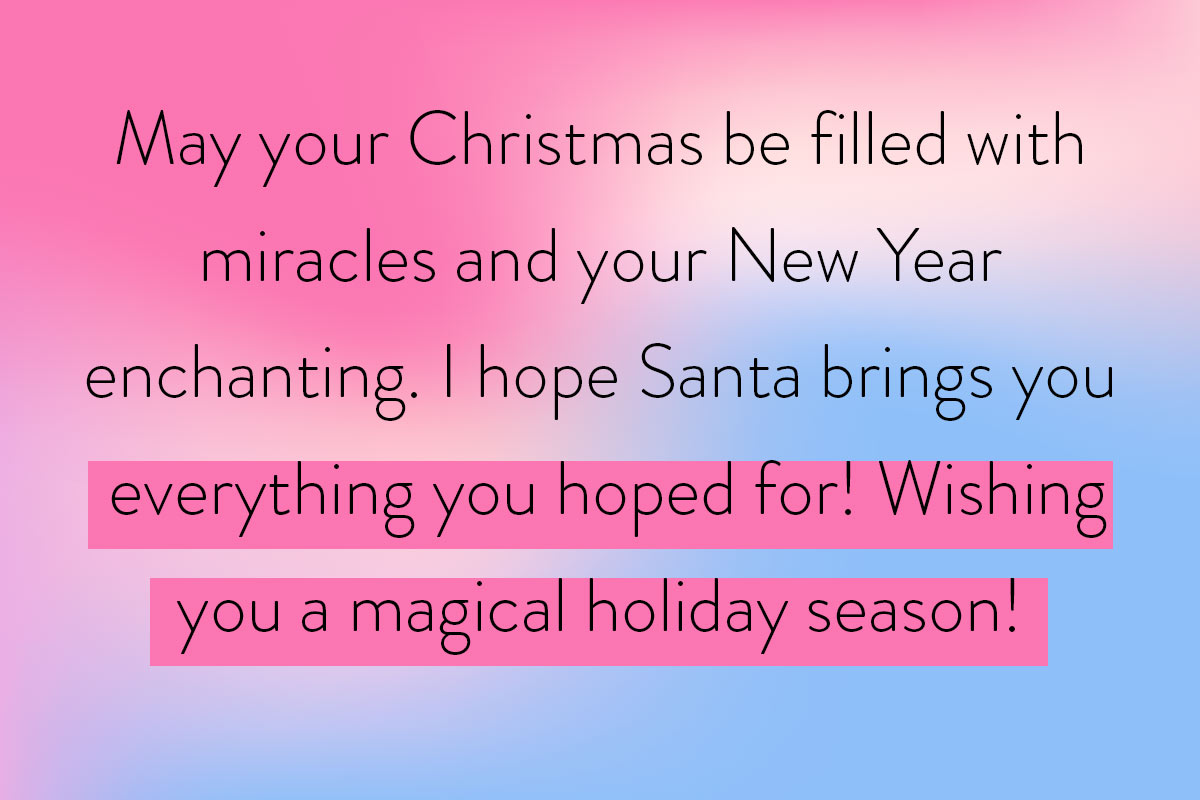 A quotes template for kids full of Christmas and New Year's Wishes as a great greeting
