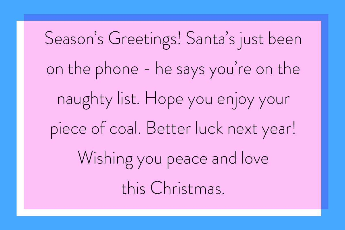 Cheeky ideas for Christmas greetings about the naughty list - best for a close friend