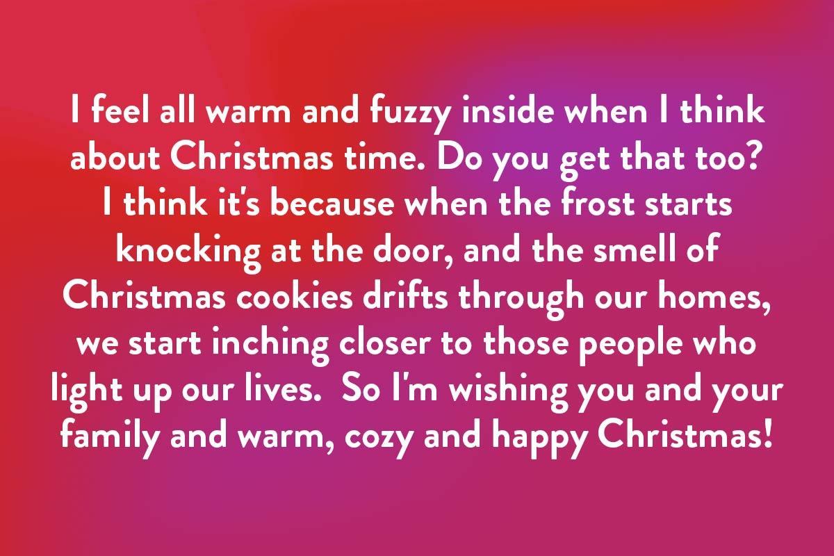 Warm Christmas card message for beloved friends