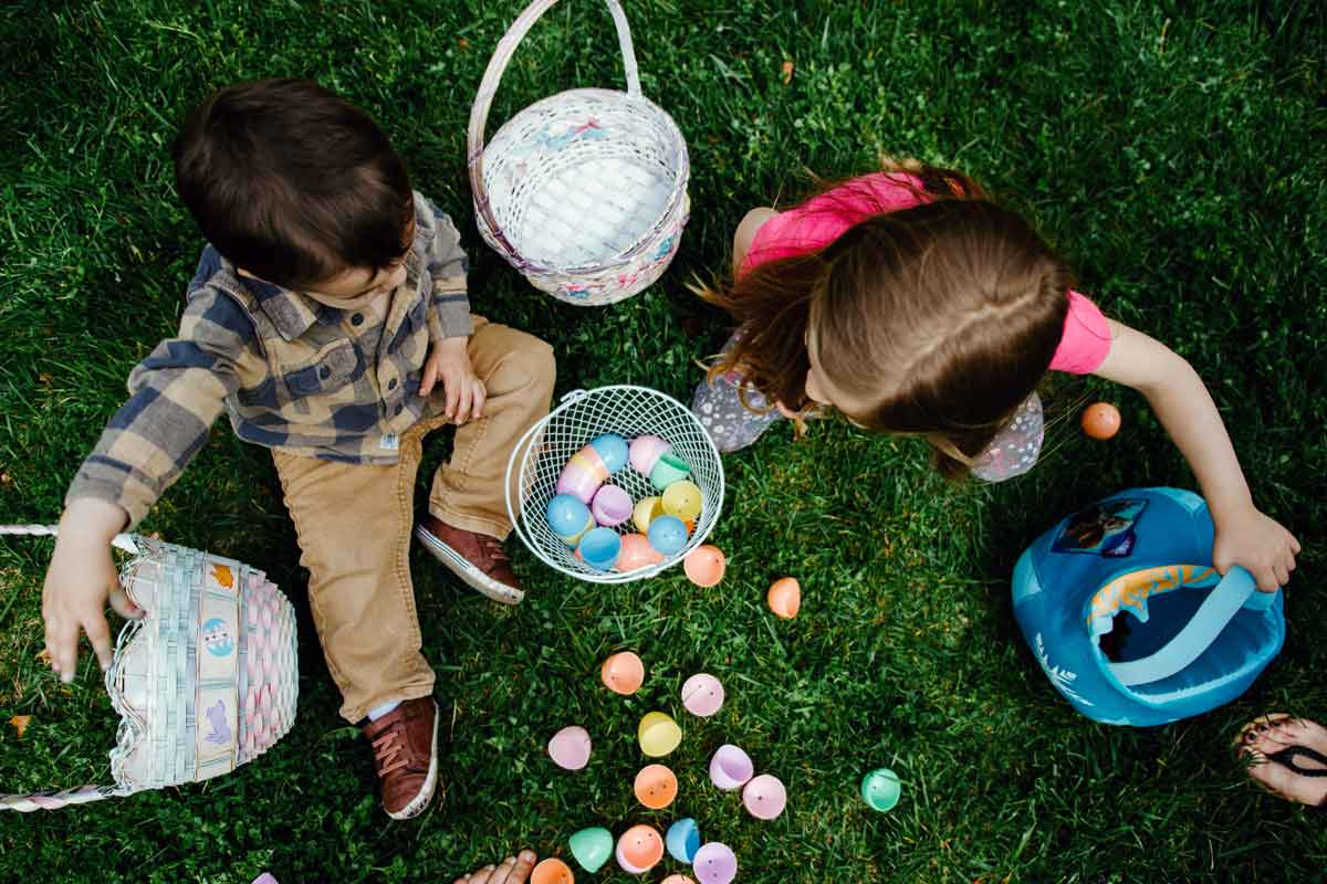 kids collect easter eggs
