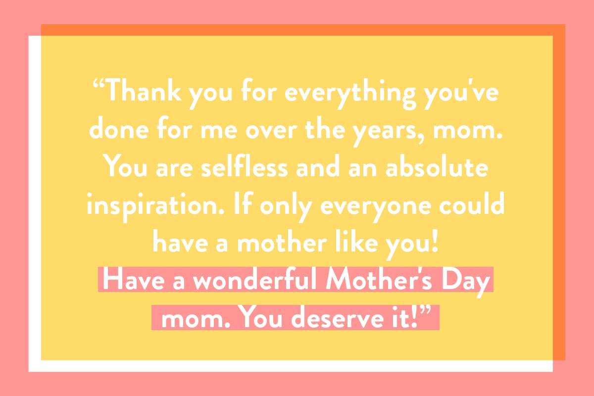 Happy Mother's Day card quote - 'thank you for everything' example
