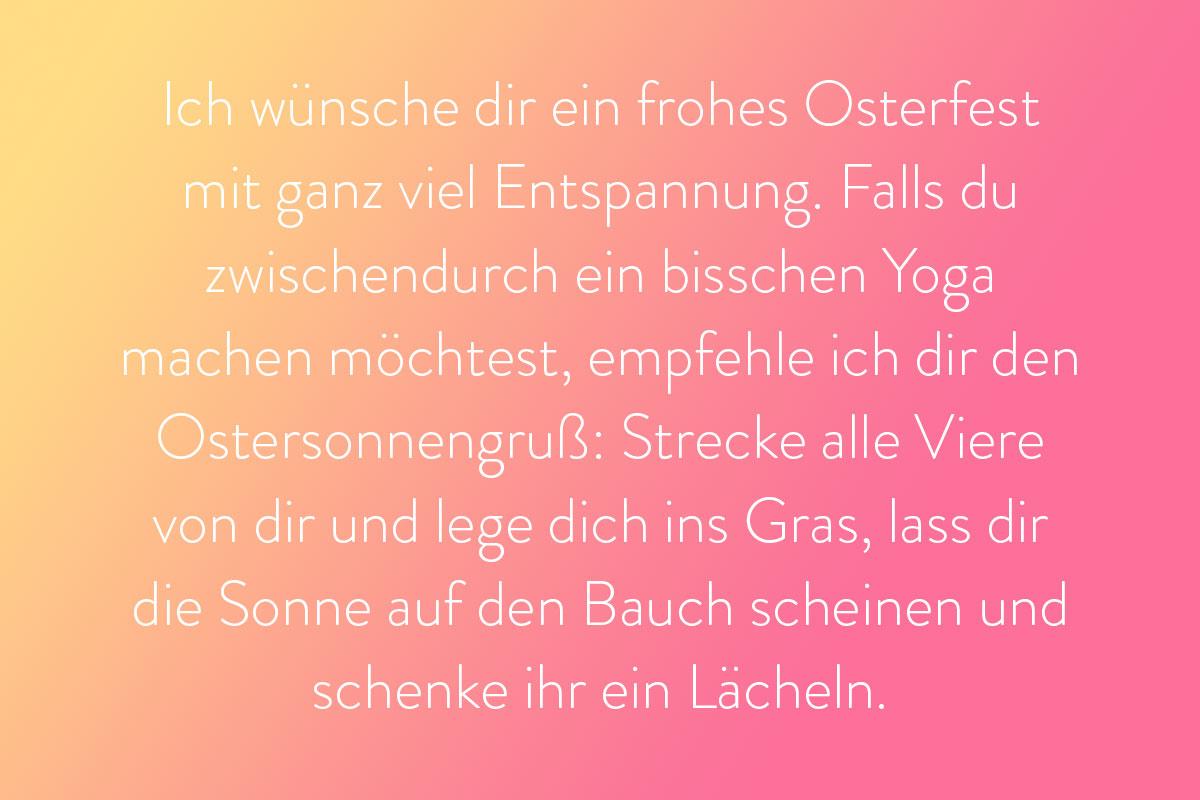 Yoga Spruch für eine Osterkarte für Familie und Freunden