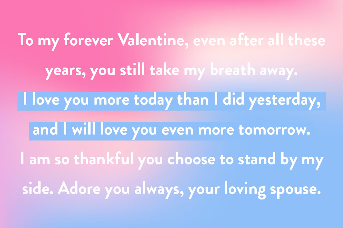 An example of writing a Valentine Day card to long-time spouses