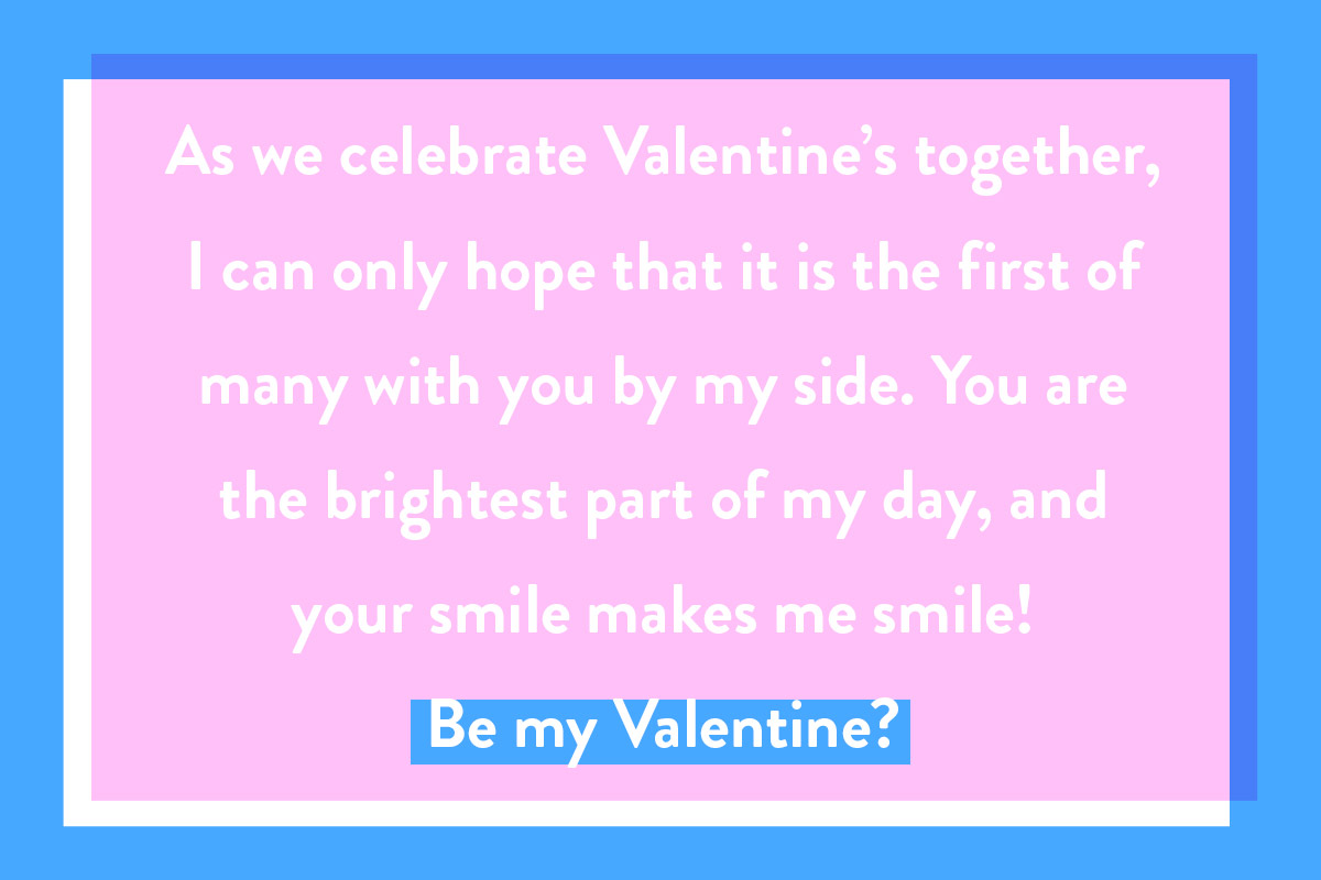 A Valentine's Day card quote for new lovers