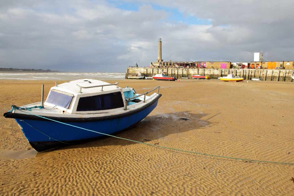 A boat rests on a Margate beach