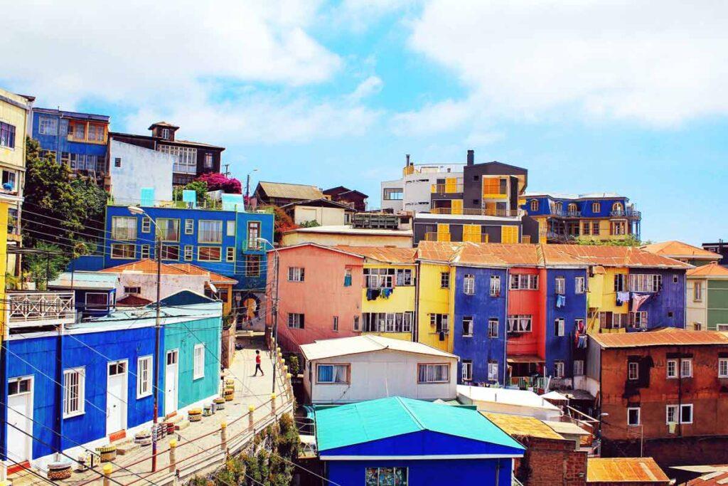 Die bunte Stadt von Valparaiso in Südamerika