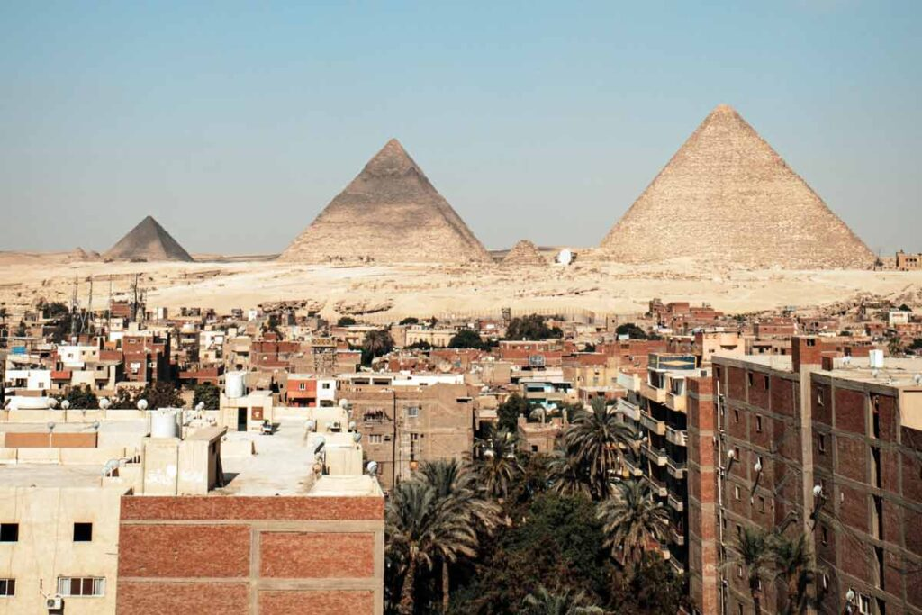 One of the top attractions in Africa are the Giza Pyramids featured here