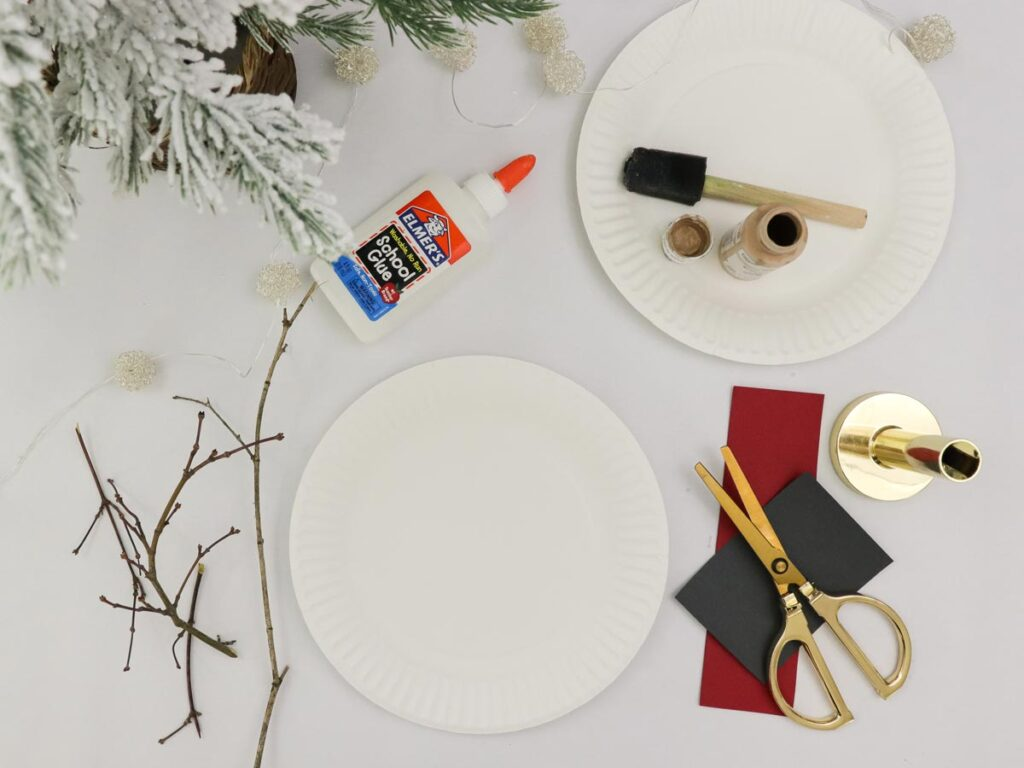 Supplies for the Rudolph the Red-Nodes Reindeer DIY crafts Christmas project for kids