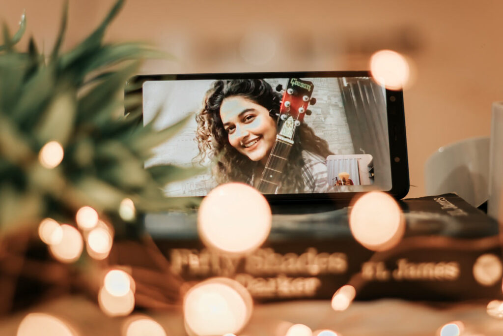 A woman on Facetime talks to friends on New Year's Eve